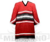 Mexické Pončo Stripe červené